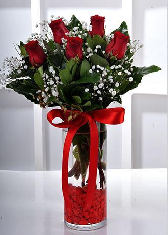 Alanya Çiçek Vazo İçerisinde 5 Kırmızı Gül
