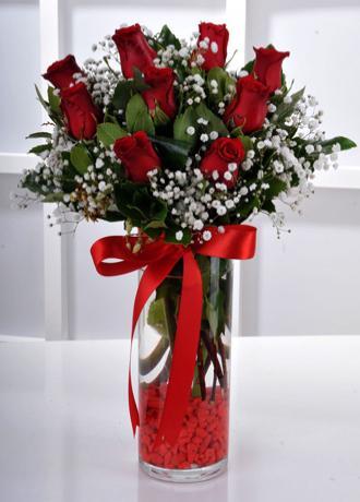 Alanya Çiçek Vazoda 9 Kırmızı Gül