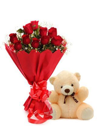 Alanya Çiçek 30 Cm Ayıcık ve 11 Kırmızı Gül