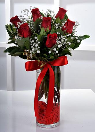 Alanya Çiçek Vazo İçerisinde 7 Kırmızı Gül