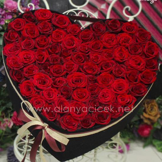 alanya Çiçek Kalp Kutuda 51 Gül