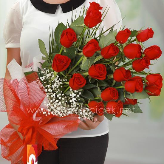 alanya Çiçek 21 Kırmızı Gül Buketi
