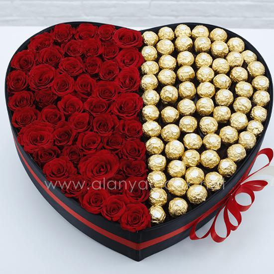 alanya Çiçek 51 Gül 72 Adet İthal Çikolata