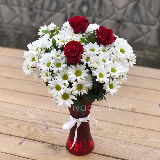 alanya Çiçek Vazoda Papatyalar 3 Gül