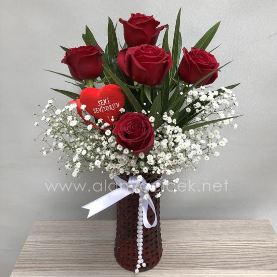 order flowers alanya 5 Red Roses in Vase