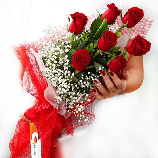 order flowers alanya 7 Red Roses Bouquet