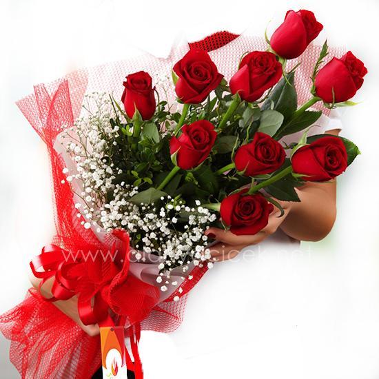 alanya Çiçek 9 Kırmızı Gülden Buket