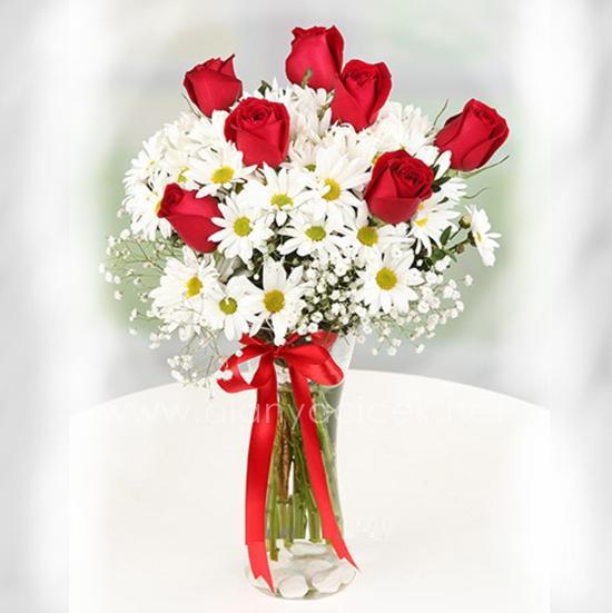 alanya Çiçek Vazoda Papatya ve 7 Güller