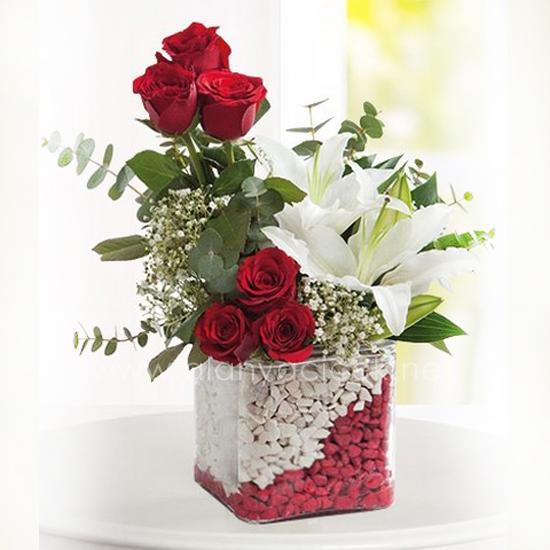 alanya Çiçek Kare Mikada 6 Gül ve Lilyum