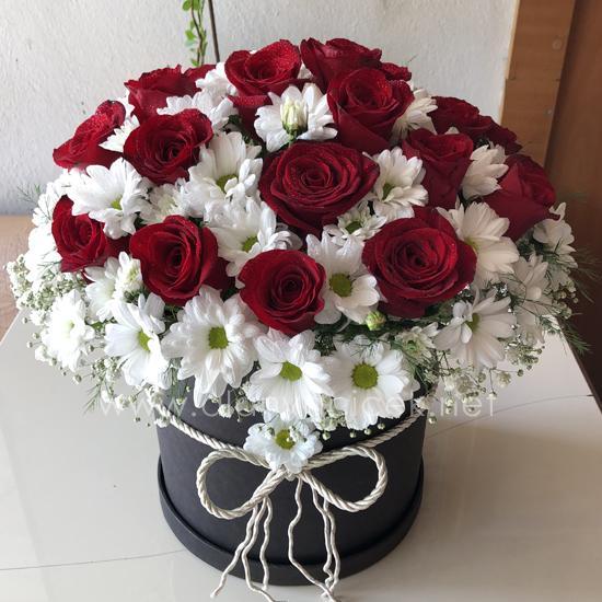 alanya Çiçek Kutuda 17 Gül Papatyalar