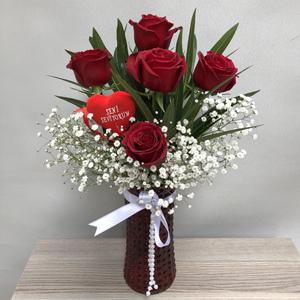 kalp vazo 5 gül ayıcık Vazo İçerisinde 5 Kırmızı Gül