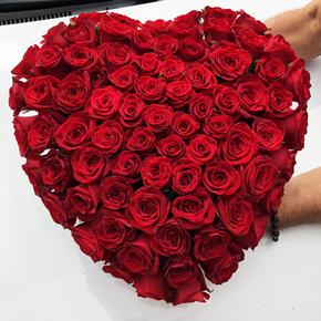 kalp vazoda 11 kırmızı gül 101 Gülden Özel Kalp